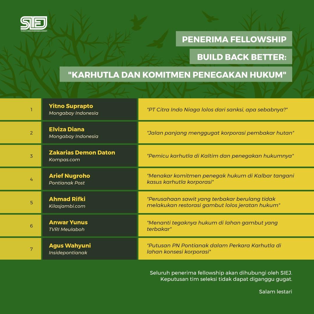 "Inilah 7 Jurnalis Penerima Fellowship Build Back Better ""Karhutla dan Komitmen Penegakan Hukum"""