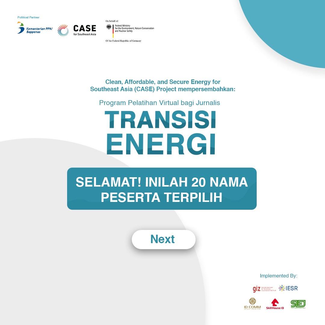 20 Jurnalis Lolos Pelatihan dan Beasiswa Transisi Energi