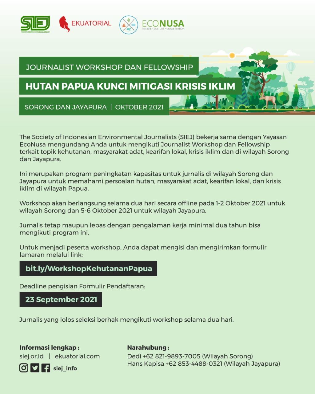 """Memanggil Jurnalis di Wilayah Timur Indonesia : """"Workshop dan Fellowship Hutan dan Krisis Iklim"""""""